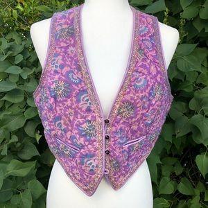 VTG 70s Purple Quilted Boho Vest